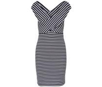 Wickel-Kleid ohne Ärmel navy / hellgrau