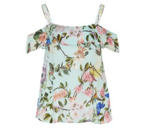Off-Shoulder-Bluse mit Tropical-Print mint / mischfarben