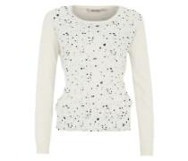 Pullover mit Punkten und Stickereien auf der Front weiß / mischfarben