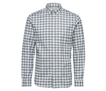 Kariertes Langarmhemd grau / weiß