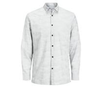 Trendiges Langarmhemd hellgrau / weiß