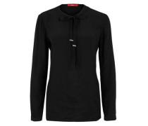 Viskose-Bluse mit Schleife schwarz