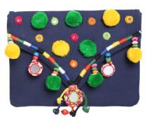 Clutch mit Bommeln und Spiegeldekor navy / gelb / grün
