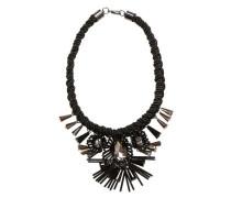 Collier mit Kordel und 3D-Blüten schwarz