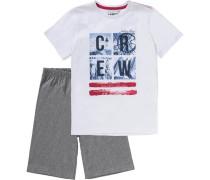 Schlafanzug für Jungen dunkelgrau / weiß