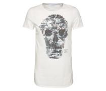 T-Shirt 'Collage Skull' weiß