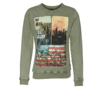Sweatshirt 'acid Wash Photo' oliv