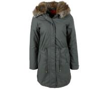 Warmer Mantel mit Fake Fur-Kapuze grün