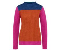 Pullover im Colour-Blocking grau / orange / pink