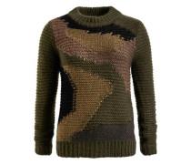 Pullover 'mirka' braun / grün / khaki / schwarz