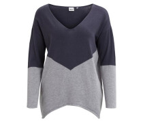Strick-Pullover enzian / grau