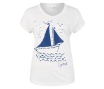 T-Shirt mit Frontprint dunkelblau / weiß