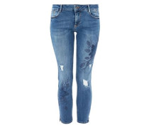 Shape Ankle: Jeans mit Artworks blue denim