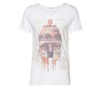 T-shirt V-Neck 'Sprühdose' weiß