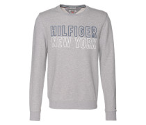 Sweatshirt mit Logo-Print graumeliert