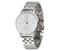 Armbanduhr mit Chronograph silber / weiß