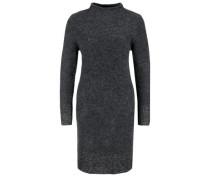 Bouclé-Kleid mit Stehkragen schwarzmeliert