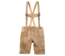 Lederhose mit traditioneller Stickerei beige / braun