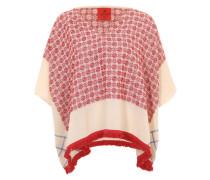 Poncho mit Fransenborte rot / weiß