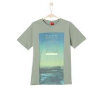 T-Shirt mit plakativem Print oliv / pastellgrün