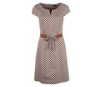 Kleid mit schönem Punktemuster braun / naturweiß