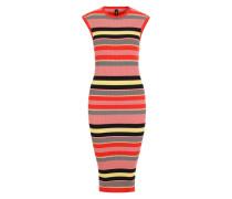 Kleid im Streifen-Look gelb / rosa / rot