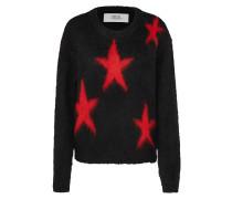 Pullover 'Mesh' rot / schwarz