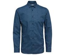 Slim-Fit-Langarmhemd blau / schwarz