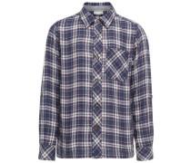 Kariertes Langarmhemd blau / blutrot / naturweiß