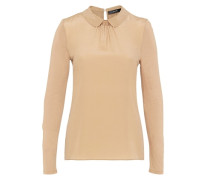 Bubikragen-Shirt im Fabric-Mix beige
