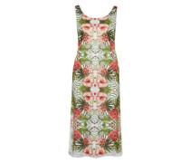 Kleid 'Tropical' khaki / rostrot / weiß