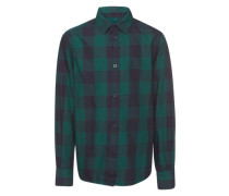 Hemd 'basic check shirt' navy / tanne
