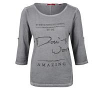 Garment Dye-Shirt mit Zierperlen grau