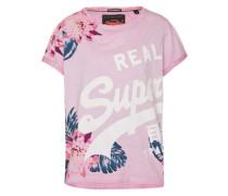 T-Shirt 'Wrap Round' pink / weiß