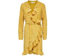 Kleid mit langen Ärmeln Wickel gelb