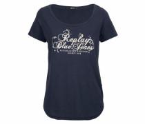 Print-Shirt 'Logo' blau