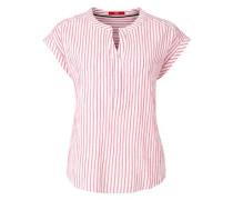 Gestreifte Bluse im Crinkle-Look pink / weiß