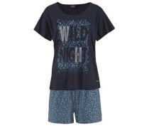 Cooler Shorty Shorts mit Leo-Druck hellblau / dunkelblau / grau