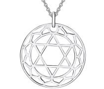 Nahla Jewels Kette mit Anhänger Herzchakra Zwölfblättriger Lotus silber