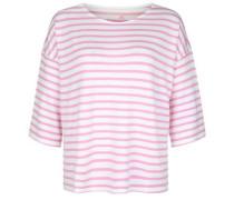 Shirt 'fleece Stripe' pink / weiß