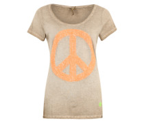 T-Shirt mit Paillettenbesatz beige / orange