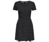 Bedrucktes Kleid mit kurzen Ärmeln schwarz