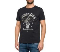 T-Shirt mit Print und Nieten schwarz / weiß