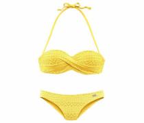 Bügel-Bandeau-Bikini in Häkeloptik gelb