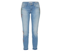 Ankle-Jeans mit Stickerei 'Serena' blue denim