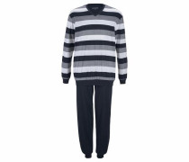 Pyjama lang mit Blockstreifen