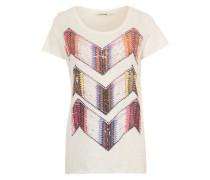 Print-Shirt mit funkelndem Ziersteinbesatz weiß