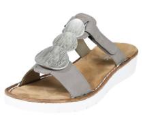 Pantolette mit Metall-Verzierungen taupe / silber