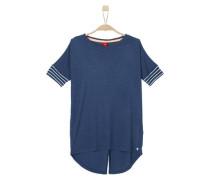 Leichtes Shirt mit Blusen-Details marine / weiß