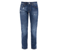 Close Slim: Used Stretch-Jeans blau